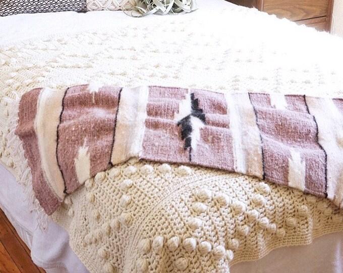 Vintage Mauve Purple Pastel Woven Alpaca Wool Runner / Tapestry