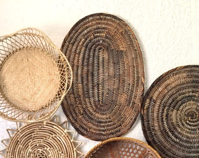 Vintage Oval Brown Woven Wicker Basket / Trivet / Placemat / Wall Art