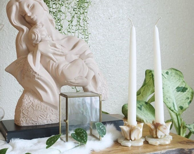 Pair of Two Alabaster Carved Roses Candleholders