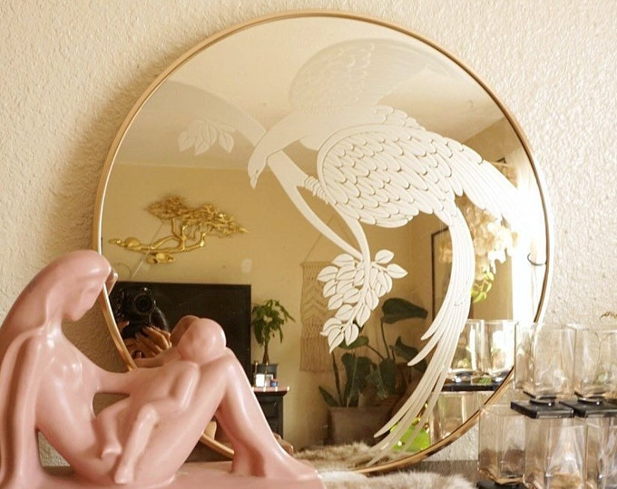 Vintage Rose Gold Metal Gloria Eriksen Round Mirror with Long Tailed Bird of Paradise