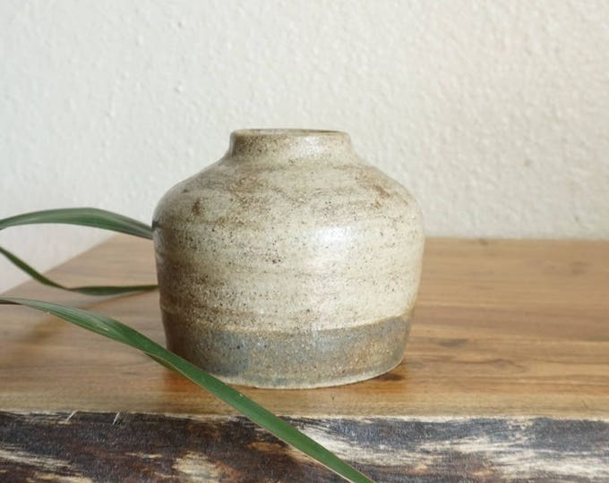 Beautiful Handmade Gray Beige Studio Pottery Ceramic Vase / Pot / Vessel