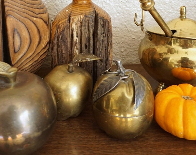 Small Vintage Mixed Brass Metal Pumpkin Figurine Trinket Box with Compartment
