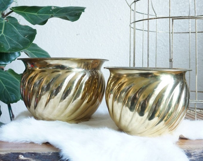 Vintage Swirled Lacquered Brass Short Wide Planter Pot