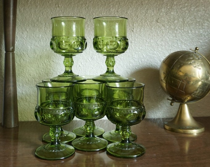 Vintage Green Kings Crown Thumbprint Pressed Glass Goblet Wine Cups - Set of 9