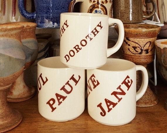 Vintane Name Ceramic Coffee Cup Mug - Jane / Dorothy / Paul