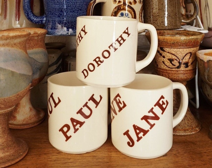 Vintane Name Ceramic Coffee Cup Mug - Jane / Dorothy / Paul