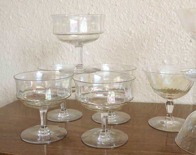 Set of 5 Iridescent Coupe Cocktail Glasses