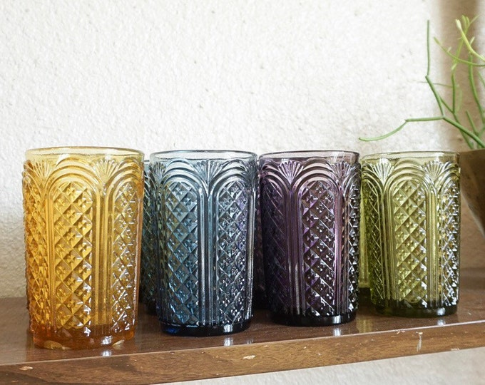 Set of 12 Colorful Vintage Tall Glass Tumblers with Art Deco Style Cut