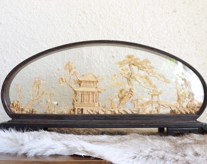 Large Vintage Chinese Cork Carving Diorama Landscape Scene