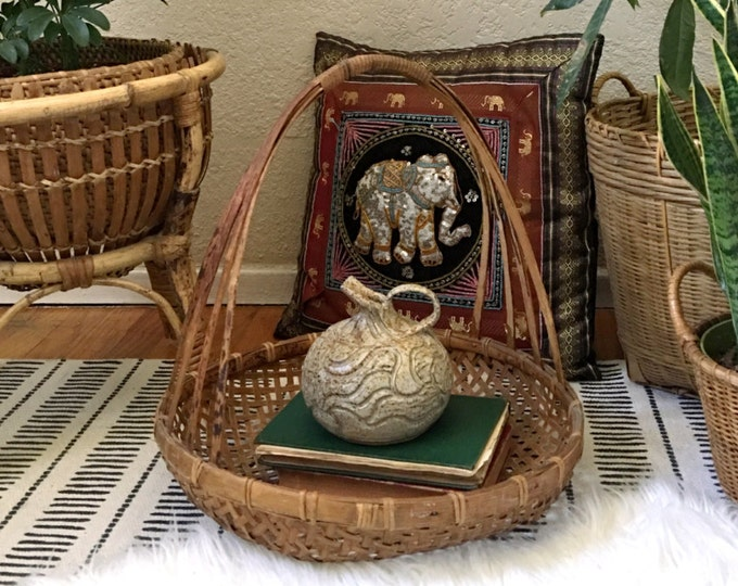 """Large 15"""" Bohemian Round Woven Rattan Basket with Tall Handle"""