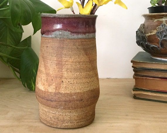 Vintage Earth Tone Textured Ceramic Vase with Maroon Glaze