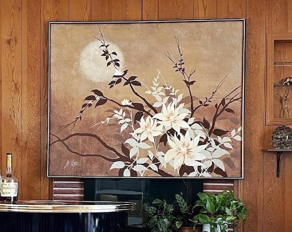 Vintage Lee Reynolds Original Art Painting - Brown and White Gradient Floral Bouquet Sun Scene