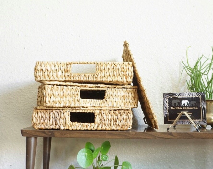 Woven Thatched Straw Paper Letter Tray File Holder with Removable Lid