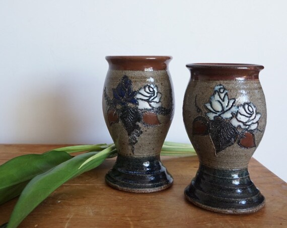 Pair of Ceramic Goblet Cups with Etched White Roses - Handmade Studio Pottery