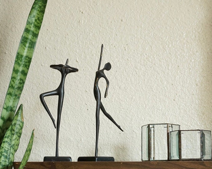 Graceful Pair of Black Metal Feminine Ballerina Figurine Sculptures - Bodrul Khalique