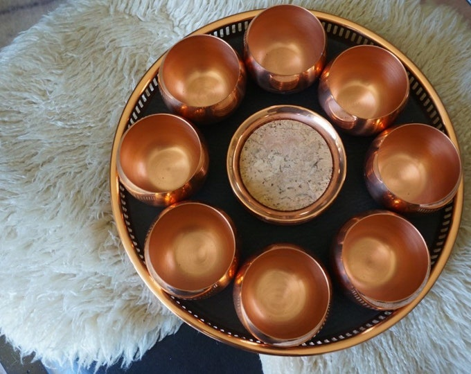 Complete Vintage Coppercraft Guild Copper Roly Poly 8 Cup Set with Tray and Coasters
