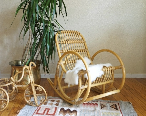 Vintage Franco Albini-Style Bentwood Bamboo Rattan Children's Rocking Chair