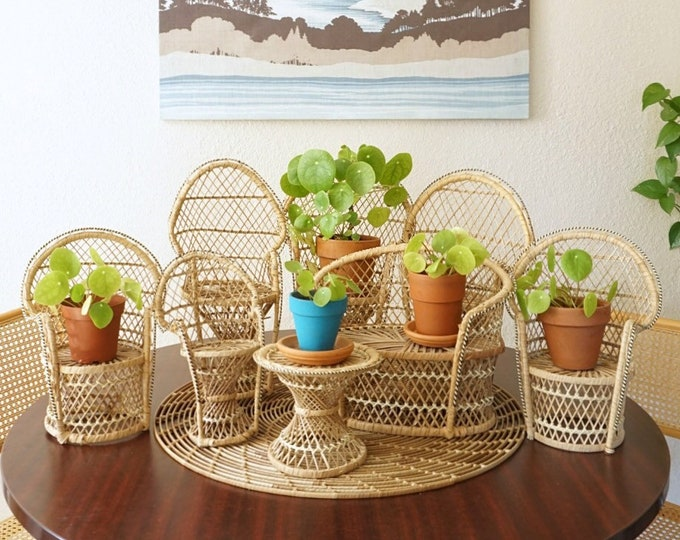 Vintage Wicker Doll Miniature Peacock Chairs / Planters / Decorative Displays