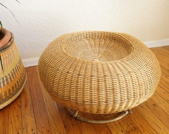 Vintage Round Mushroom Orb Wicker Stool / Ottoman