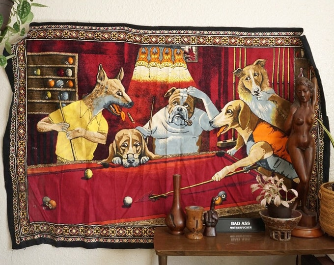 Large Vintage Dogs Playing Pool Wall Tapestry / Rug / Textile