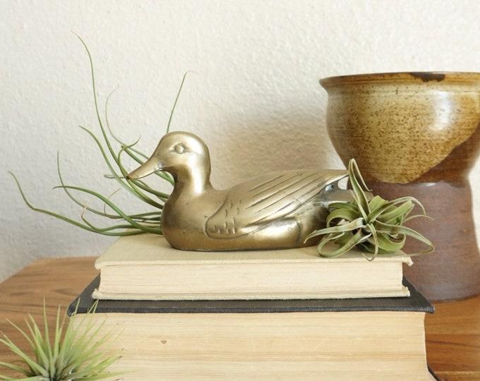 Vintage Solid Brass Sitting Duck Bird Figurine Paperweight
