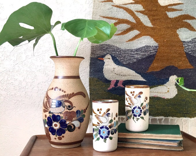 Handpainted Birds and Flower Mexican Pottery Ceramic Vase / Cup Set of 2