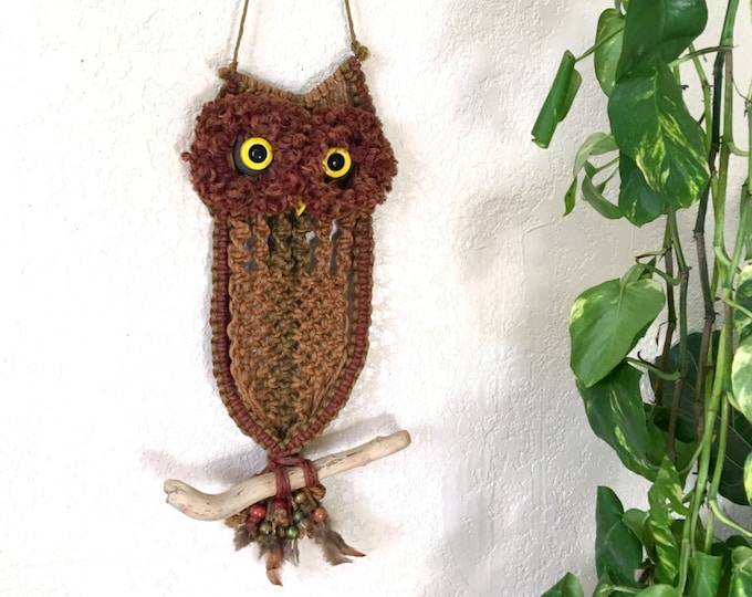 Vintage Owl Macrame Jute Fiber Art Wall Hanging with Beads and Real Feathers