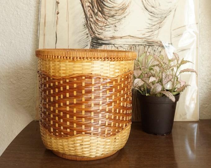 Vintage Two Tone Wicker Split Rattan Basket