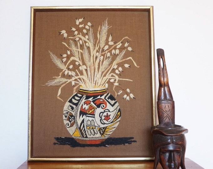 Large Vintage Crewel Wall Art of Native American Pueblo Style Ceramic Pot and Bouquet