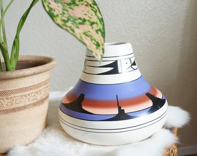 Large Colorful Navajo Style Southwestern Ceramic Pottery Bowl Vase