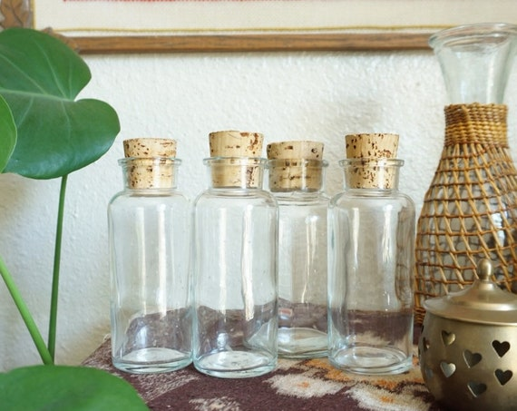 Vintage Clear Glass Apothecary Bottles with Cork Lids - Made in Portugal