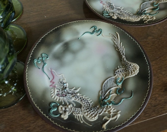 Unique Dragon Mitsu-Boshi Japanese Porcelain Ceramic Plate / Dish - Set of Two