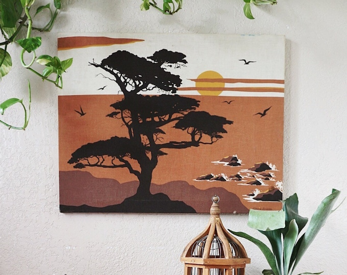 Vintage Gloria Eriksen Sun Tree Nature Landscape Brown Fabric Canvas Art Wall Hanging