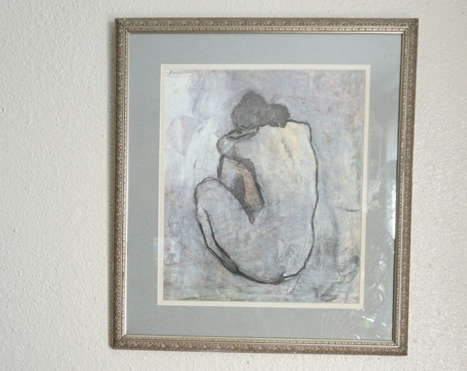 Large 'Blue Nude' Picasso Gilded Ornate Framed Print