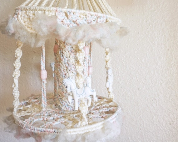 Vintage Off White Horse Carousel Hanging Macramé Chandelier