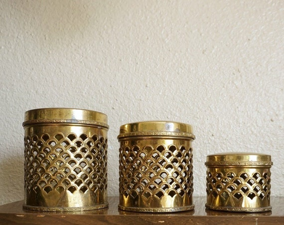 Vintage Brass Filigree Open Cut Scalloped Nesting Canisters - Set of Three