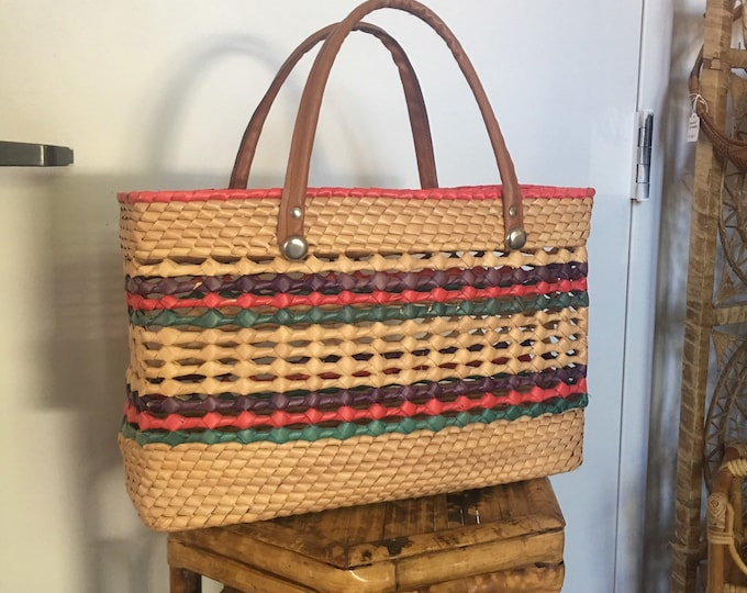 Colorful Bohemian Woven Straw Tote Bag with Camel Colored Strap Handles