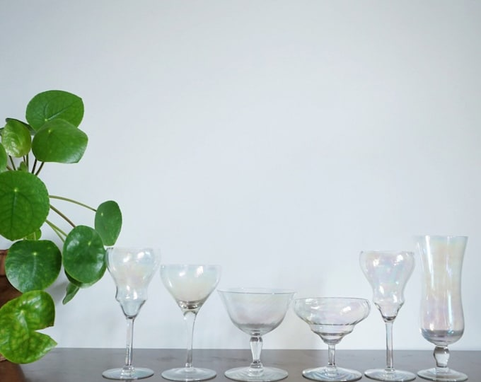Set of 6 Mixed Iridescent Glasses - Wine / Cocktail Glass / Champagne Flute Collection