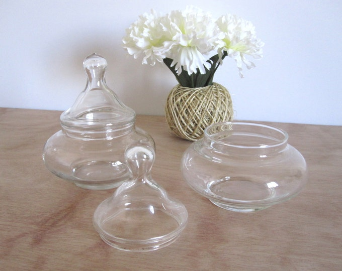Small Vintage Glass Apothecary Candy Dish Jar