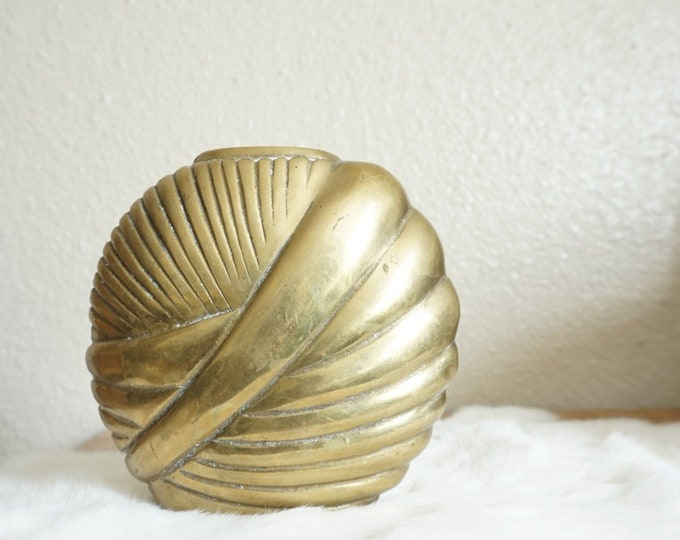 Art Deco / Hollywood Regency Solid Brass Swirled Shell Vase