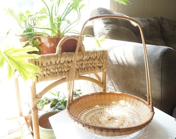 Vintage Bohemian Round Rattan Wicker Basket with Tall Handle