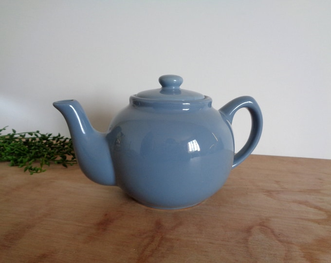 CLEARANCE Blue Gray Porcelain Teapot with Lid - Modern Chance Hold Vintage Serving Houseware