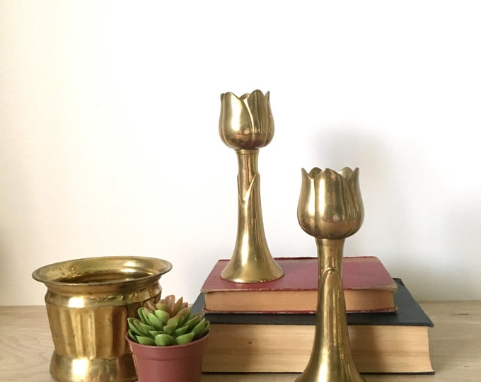 Tall Vintage Solid Brass Tulip Candleholders