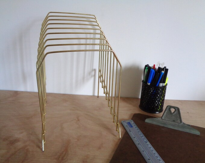 Vintage Gold Wire Metal File Folder Sorter Organizer - Stylish Mod Mad Men Industrial Office Decor - Back To School