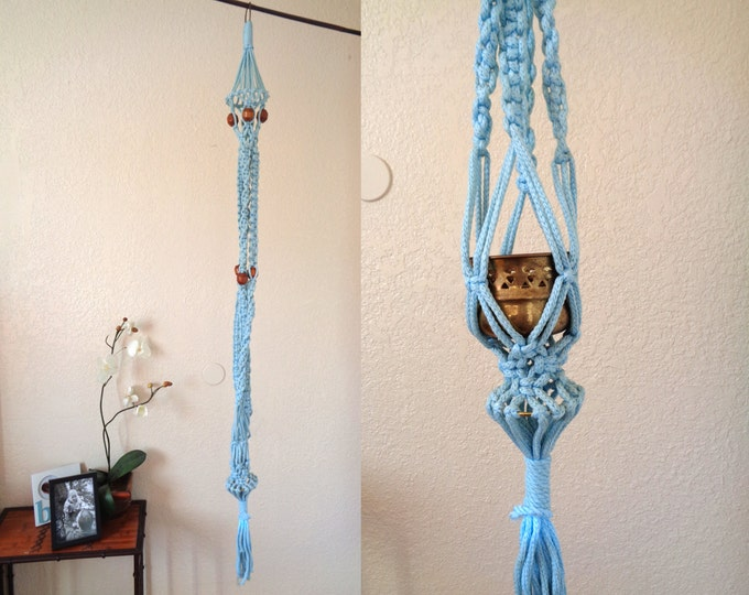"Long 65"" Vintage Light Blue Hanging Macramé Planter Pot Holder"