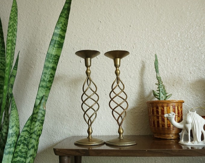 Tall Vintage Solid Brass Swirled Candle Holders - Set of Two