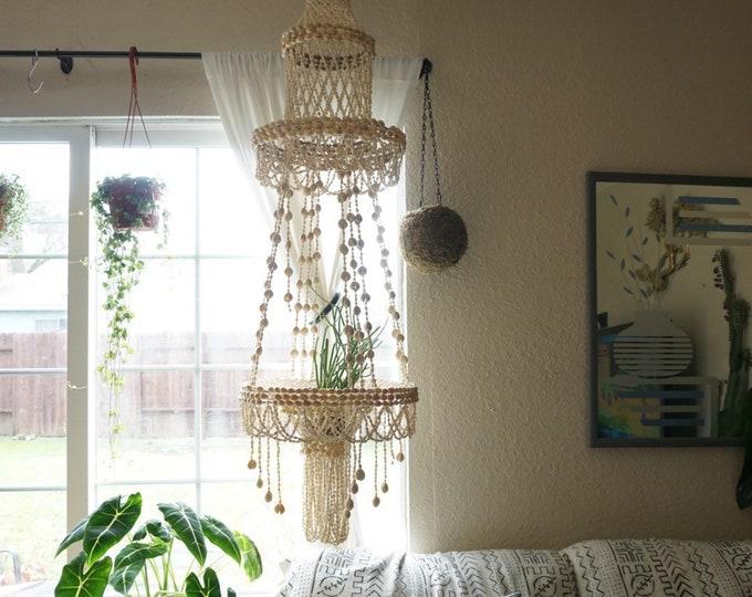 Large Vintage Hanging Cowrie Seashell Plant Hanger Chandelier