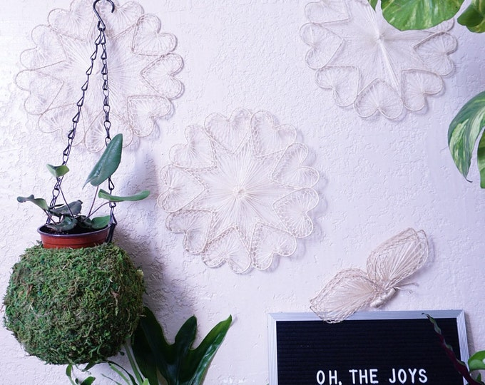Bohemian Woven Heart Star Trinket / Flat Basket / Wall Decor
