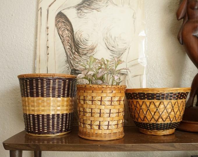 Vintage Black / Dark Brown Dual Tone Wicker Rattan Basket - Set of 3