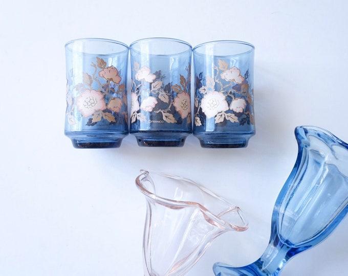 Vintage Libbey Franco Blue Glass Cups with Pink Floral Motif - Set of 3